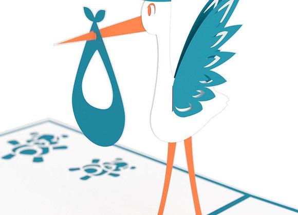 Classic Blue Stork Pop Up Card