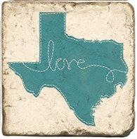 Single Marble Coaster- Blue Texas Love