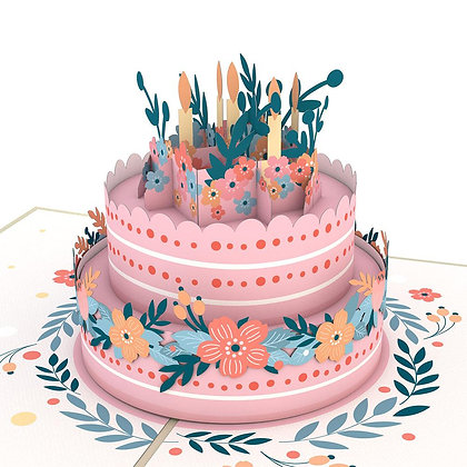 Floral Birthday Cake 3D Card