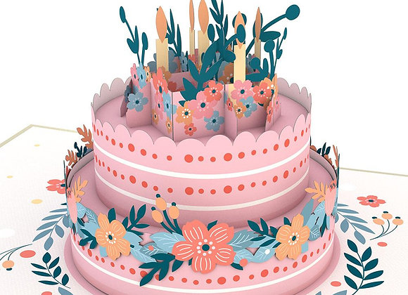 Floral Birthday Cake 3D Card