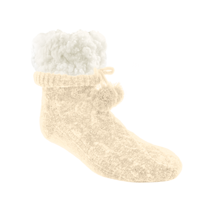 White Chenille Cable Knit- Adult Slipper Socks
