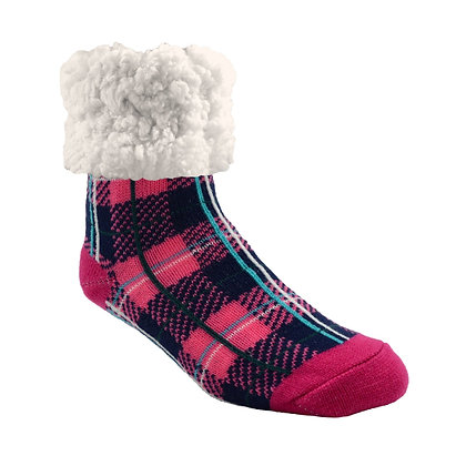 Plaid Lumberjack Pink- Adult Slipper Socks