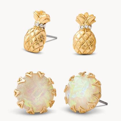 Pineapple Stud Earrings Set