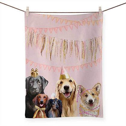 Best Friend- Party Pups Tea Towel