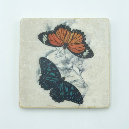 Single Marble Coaster- Orange & Blue Butterfly Duo