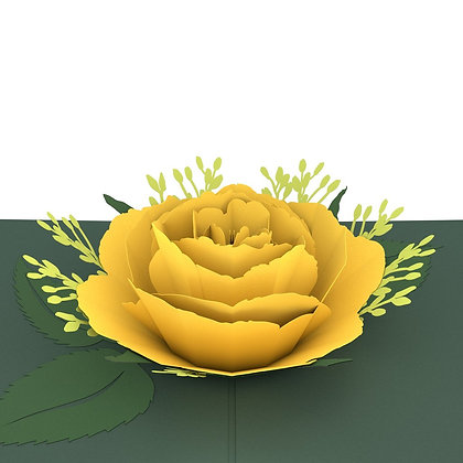Yellow Rose In Bloom 3D Card
