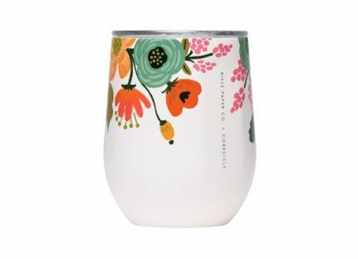 Cream Lively Floral Stemless Wine Cup