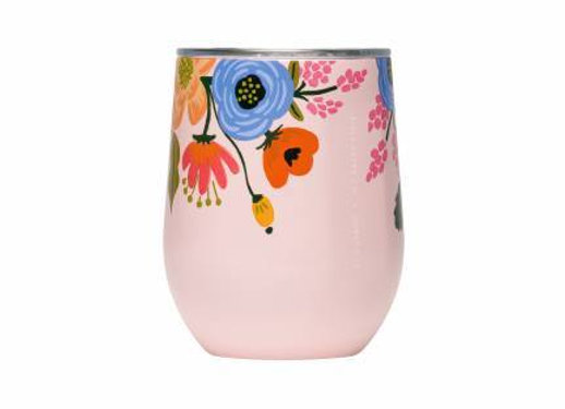 Pink Lively Floral Stemless Wine Cup