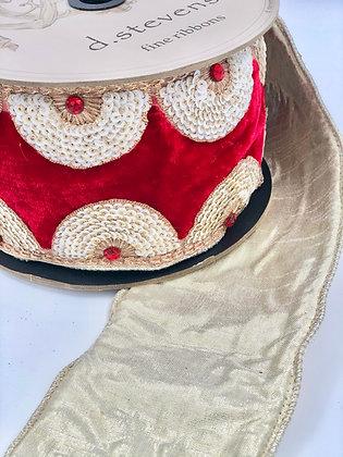 Velvet White Fan Sequin Trim Velvet Ribbon Roll