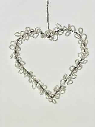 Wire Bouillon Silver Heart Ornament