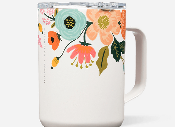 Cream Lively Floral Coffee Mug