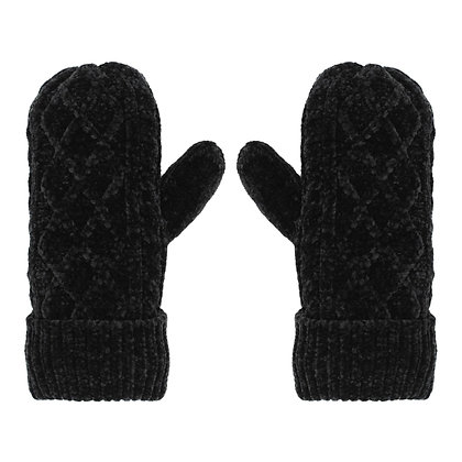 Black- Chenille Cable Knit Mittens