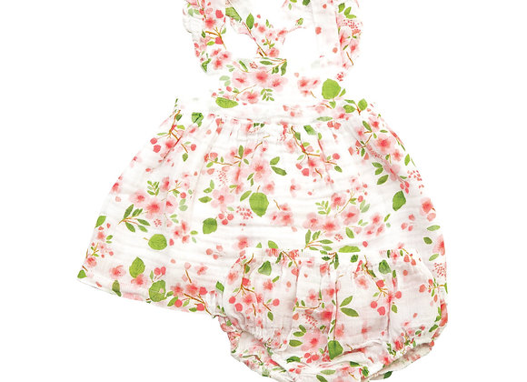 Flutter Sleeve Pinafore Top and Bloomer in Cherry Blossom