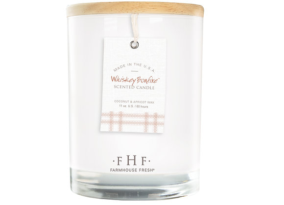 Whiskey Bonfire Candle with Wooden Lid