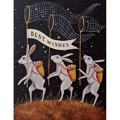 Best Wishes Rabbits Card