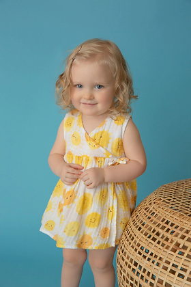 Kimono Dress and Diaper Cover in Sunshine