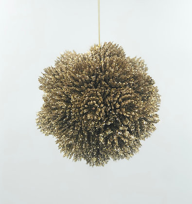 13cm Glitter Gold Fir Ball Ornament