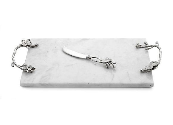 White Orchid Cheese Board with Knife