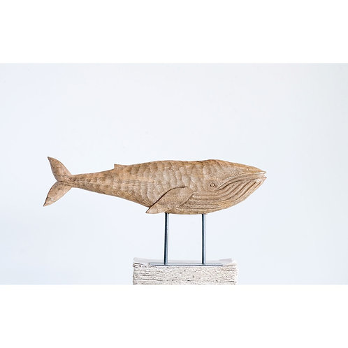 Mango Wood Whale on Metal Stand
