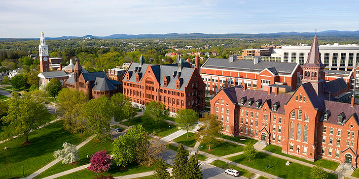 a drone picture of UVM