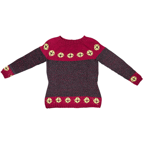 """""""Rigger"""" Sweater with Yoke – Bordeaux/grey/green rosettes"""