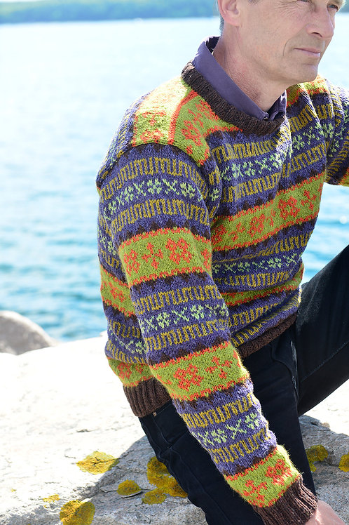 RETRO FAROESE SWEATER, lime/purple