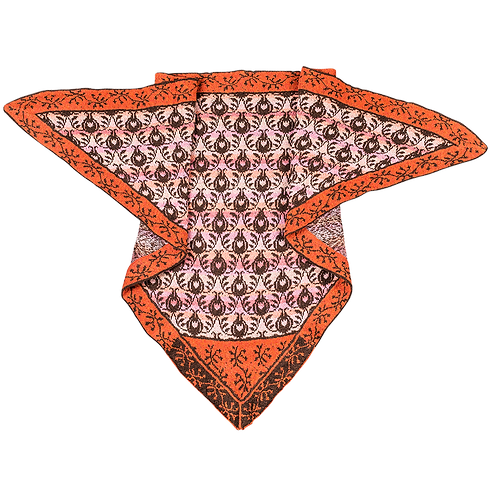 ROSES AND THORNES SHAWL BROWN/ORANGE - READY MADE