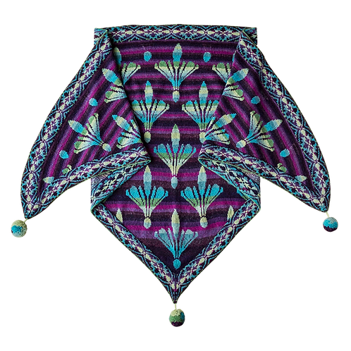 The Damask Lily shawl - turquise/purple (COLOURS OF FANØ)