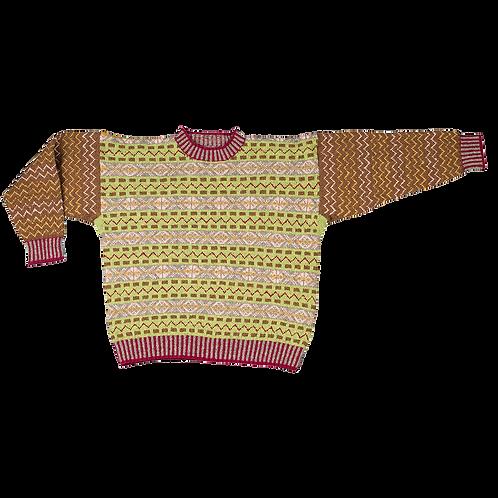 """Prinsen af Wales"" Fair Isle-sweater | grøn/brun/bordeaux"