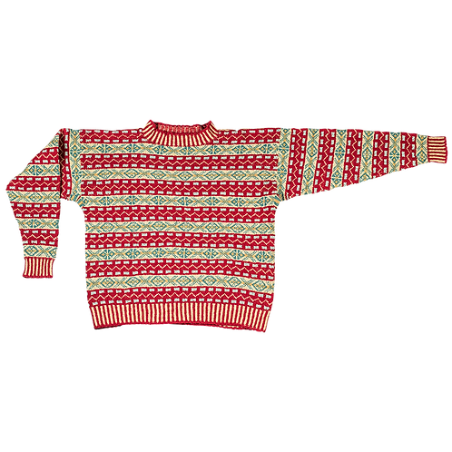"""Prinsen af Wales"" Fair Isle-sweater | rød/turkis/strågul"