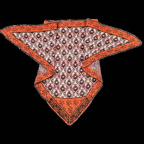 ROSER og TORNE sjal - brun/orange/rosa