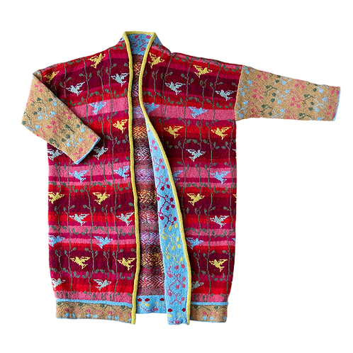BEACH BIRD COAT - RED/MUSTARD