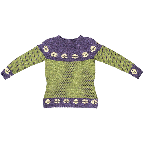 """Rigger"" Sweater with Yoke – Purple/olive/straw rosettes"