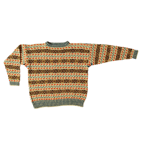 """Prinsen af  Wales"" Fair-isle sweater - sennep/brun/orange"