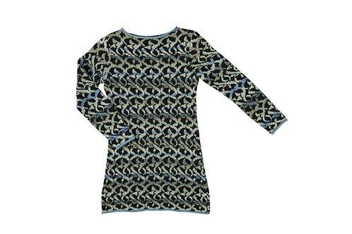 MOSAIK kjole -sort med lysgrå/blå