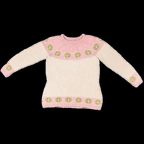 """""""RIGGER"""" trøje - rosa/creme med grønne rosetter"""
