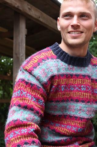 Retro Faroese Sweater Bluepink