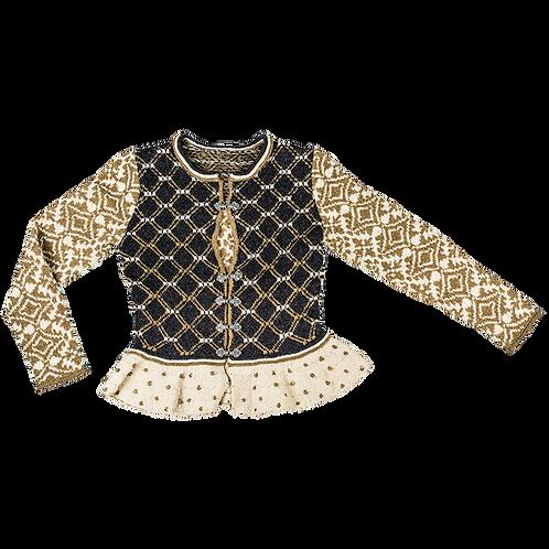 """""""Morning Star""""  Bridal Jacket – Cream/black/golden"""