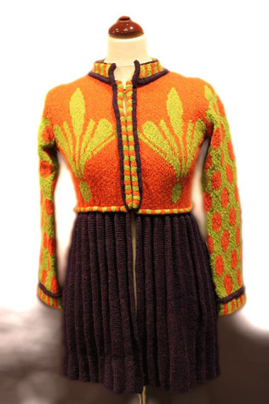 THE BRIDEMAID'S PLEATED JACKET, blueberry/orange/green