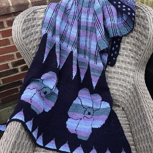 IKAT Stole - navy blue/purple