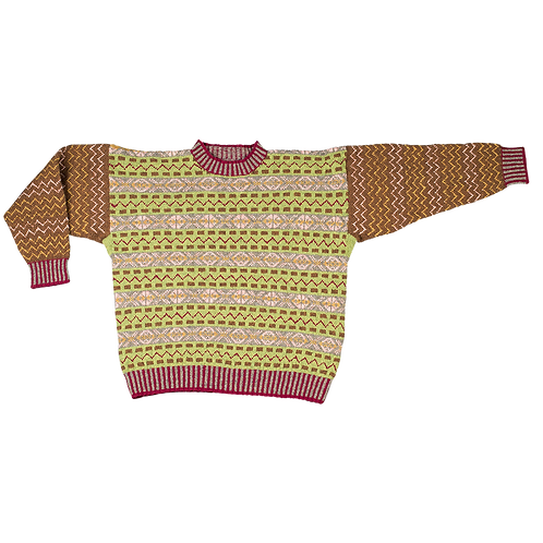The Prince of Wales - fair isle sweater green/brown/bordeaux