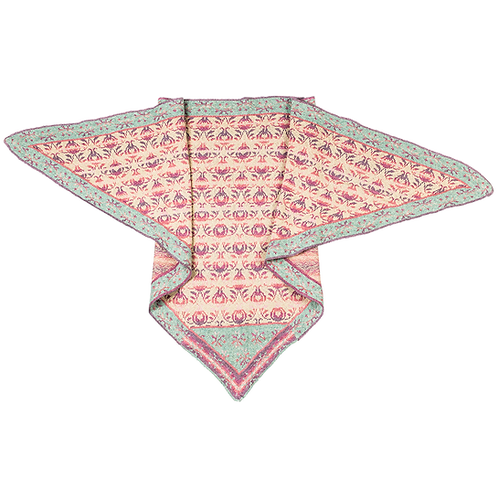 """Roses and Thornes"" Shawl - Rose pastels/light turquoise"