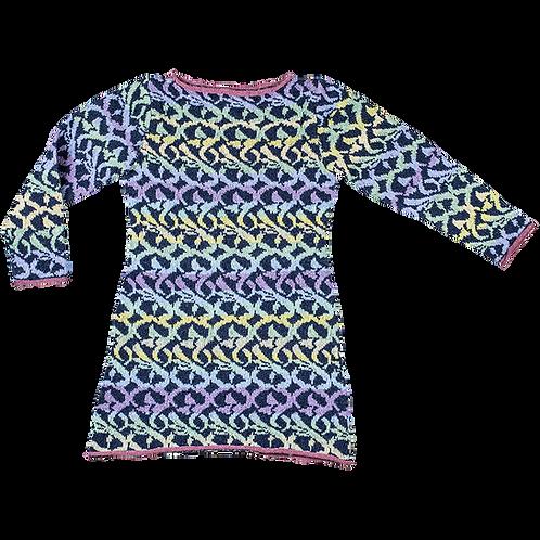 MOSAIK kjole - lyse pasteller, lilla/grøn/turkis/strågul