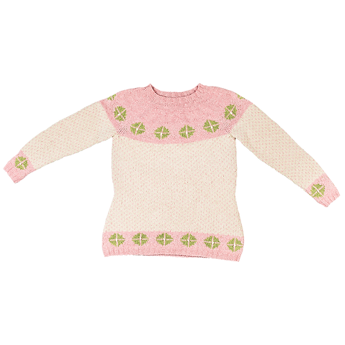 """""""Rigger"""" Sweater with Yoke – Rose/cream/green rosettes"""
