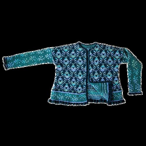 ROSER og TORNE jakke blå -FÆRDIGSTRIKKET