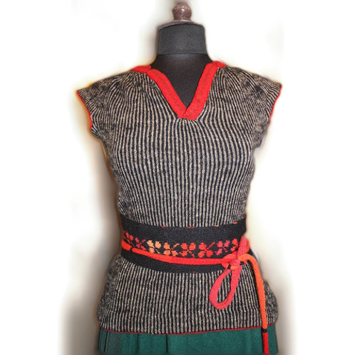 The bodice worn by the Seaman's wife, black/grey/red