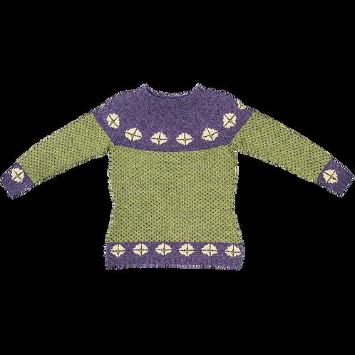 """""""RIGGER"""" trøje - Lilla/olivengrøn med strågule rosetter"""