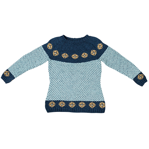 RIGGER SWEATER WITH YOKE BLUE - READY MADE