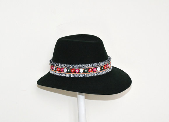 Dark Green Trilby with Fringe Detail Trim