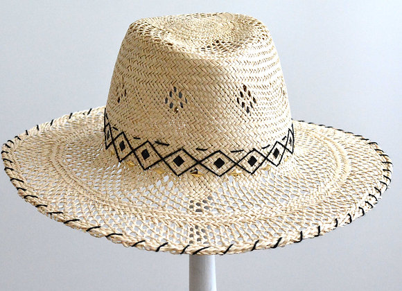 Natural Straw Trilby with Embroidered Pattern Trim
